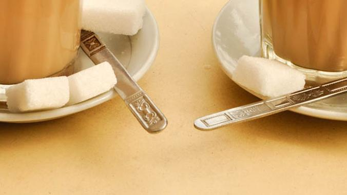 Coffee Cups with Sugar and Spoons